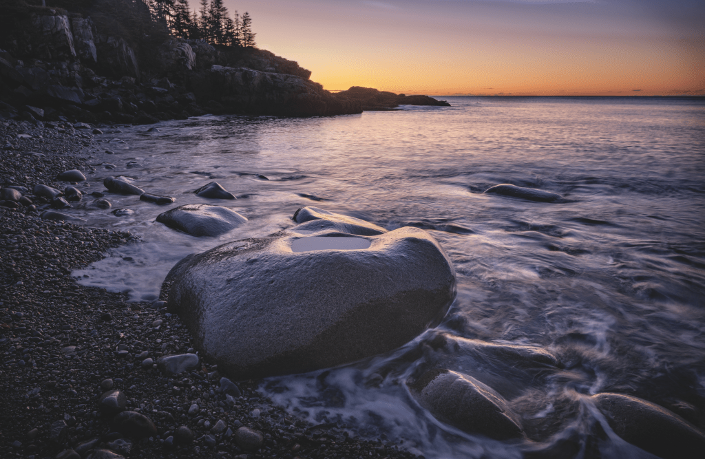 Sunrise at Little Hunters Beach in Acadia National Park, Maine