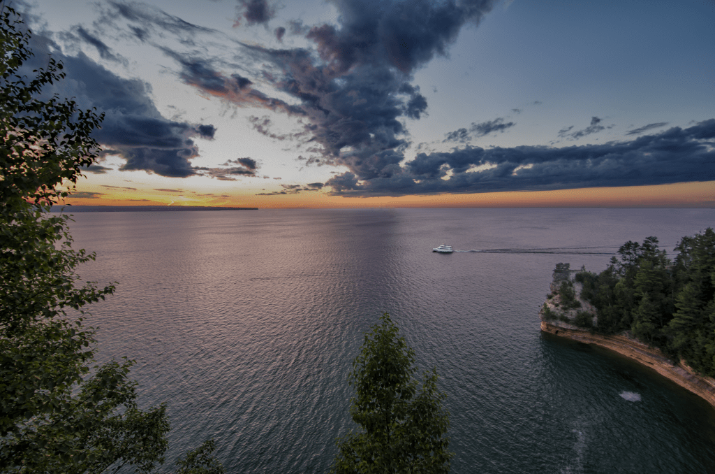 Sunset over Miners Castle on Lake Superior