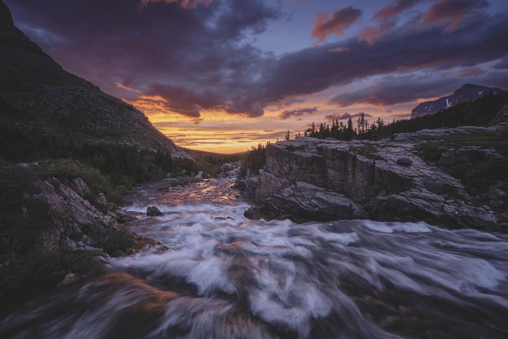 Sunrise at Swiftcurrent Falls in Glacier National Park