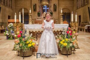 One of the young girls photographed during First Communion at St. Peter Cathedral.