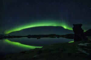 Aurora over Lake Myvatn in Northern Iceland